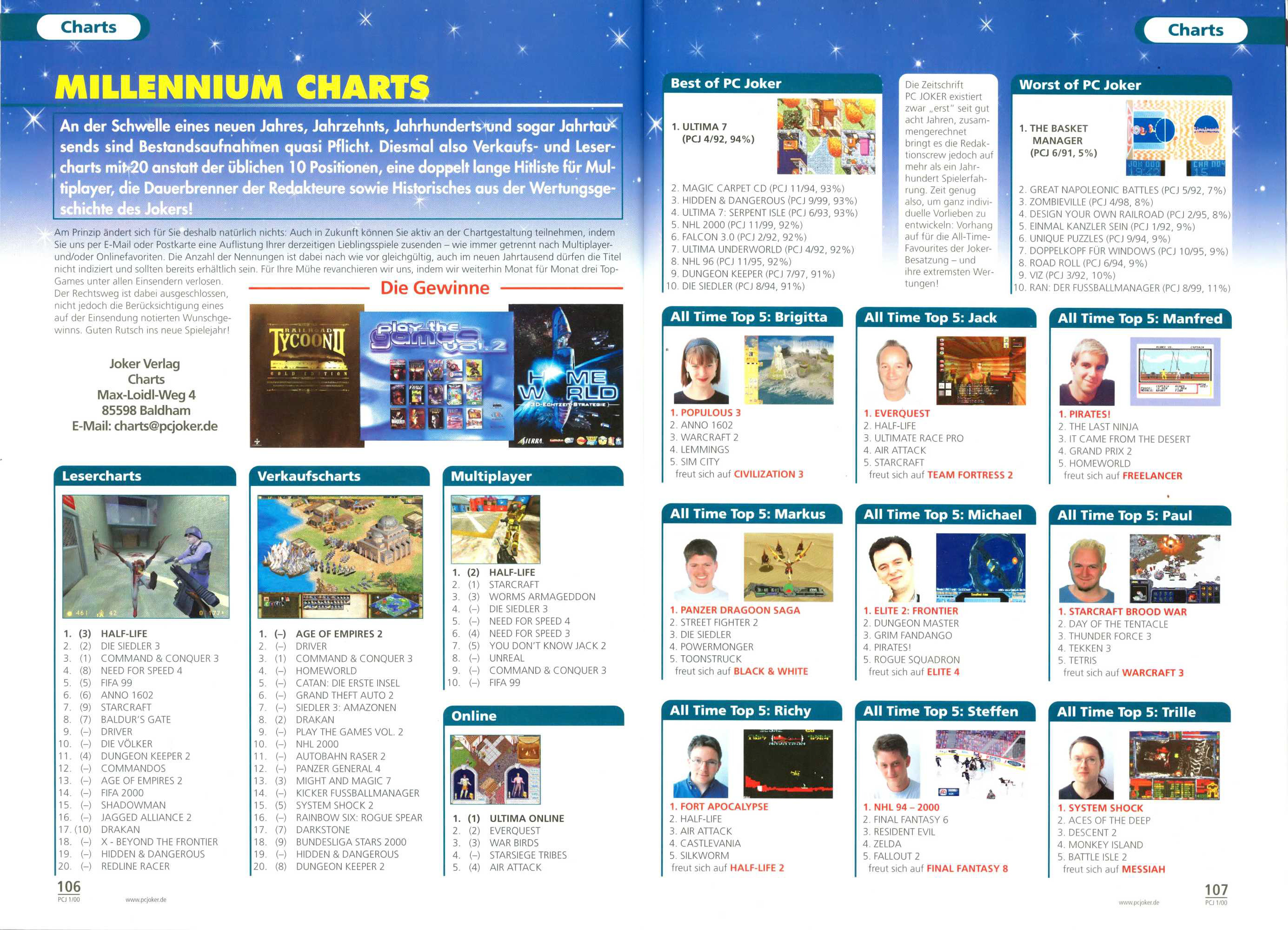 German PC and Video Game sales charts 1995 to 2001 (MCV)